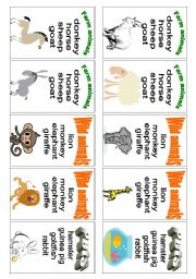 English Worksheet: Animals - card game (1 of 3)