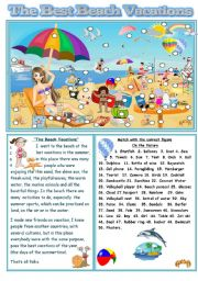 English Worksheet: THE BEST BEACH VACATIONS 2/3 (B&W INCLUDED)