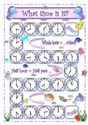 English worksheet: What time is it? - 1 - Whole hour and half hour oral practice