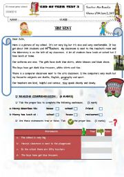 English Worksheet: End of Term Test 3 7th Form