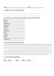 English Worksheets: PRESENT SIMPLE, NATIONALITIES, VERBS, WH QUESTIONS