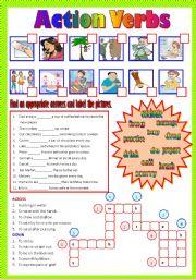 English Worksheets: Action Verbs - (B/W & Keys)