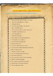 English Worksheet: Common English Mistakes made by English Learners