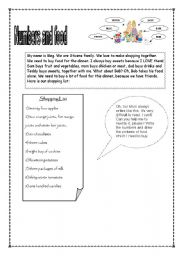 English worksheet: numbers and food page 1