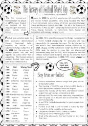 English Worksheet: The history of Football World Cup