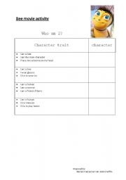 English Worksheets: Bee Movie Classroom Activity