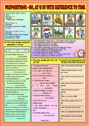 English Worksheet: Prepositions - On,at and In with reference to time + KEY