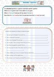 English Worksheets: Embedded questions