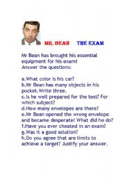Mr bean the exam esl worksheet by maria da rosa english worksheet mr bean the exam solutioingenieria Image collections