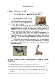 English Worksheets: Zoos - A good or a bad thing?