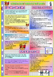 English Worksheet: TALKING ABOUT THINGS IN THE WORLD - FOOD - MUSIC - FREE TIME