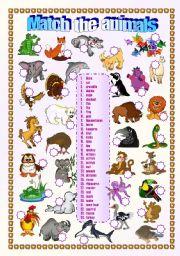 English Worksheet: Animals - matching exercise 1/2 (fully editable)