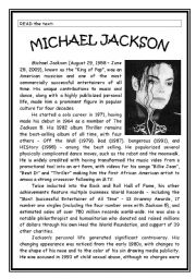 English Worksheet: MICHAEL JACKSON�S LIFE