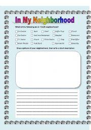 English worksheets: In My Neighborhood