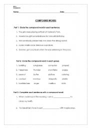 English Worksheets: Compund Words