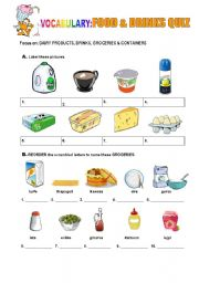 English Worksheet: FOOD and DRINKS quiz