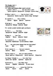 English Worksheet: COMPARATIVE QUESTIONS (SBS TEST FOR 7TH GRADES)