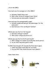 English Worksheets: Life in the 1950�s