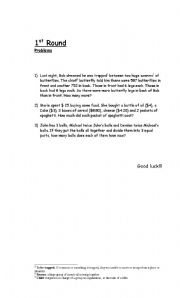 English Worksheets: Mathematical competition- problems
