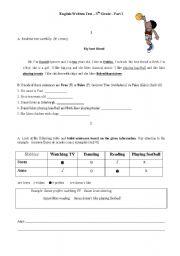 English Test - Part I 5th Grade