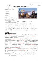 English Worksheet: Disney Pixar Up Movie Worksheet