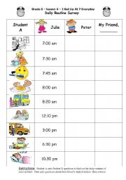 English Worksheets: Daily Routine Survey
