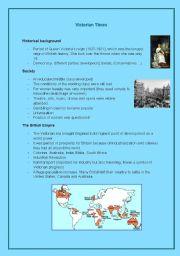 English Worksheet: Fact sheet: Victorian times, England