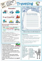 English Worksheet: Travelling