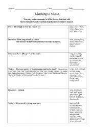 English worksheets: Listening Worksheet for Music