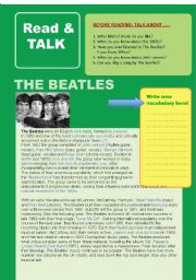English Worksheets: Read & Talk: THE BEATLES