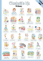 English Worksheets: ELIZABETH�S LIFE - PICTIONARY