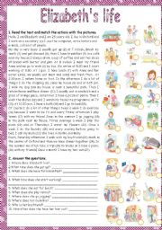 English Worksheets: ELIZABETH�S LIFE - READING