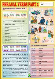 English Worksheet: Phrasal verbs part 2 + KEY
