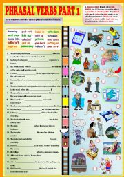 English Worksheet: Phrasal verbs part 1 + KEY