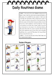 English Worksheets: Daily Routines Game