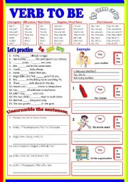 English Worksheet: Verb to Be  -  (B/W  & Keys)