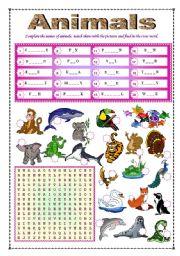 English Worksheets: Animals  (fully editable + B&W + key)