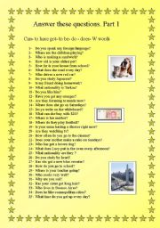 English Worksheets: answer these 35 questions