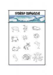 English Worksheet: Water Animals / Following Directions
