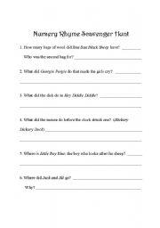 English Worksheet: Nursery Rhyme Scavenger Hunt