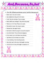 English Worksheets: and-because-but-so