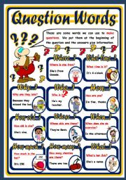 English Worksheets: QUESTION WORDS - POSTER