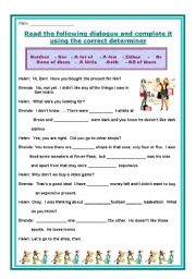 English Worksheet: NEITHER-NOR, EITHER-OR, AFEW, A LITTLE, BOTH