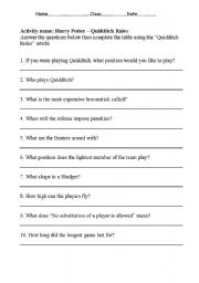 English Worksheets: Quidditch Rules