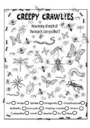 English Worksheets: Creepy crawlies (Find them all))