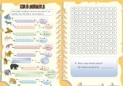 English Worksheets: Wild animals - Unscramble the letters + wordsearch