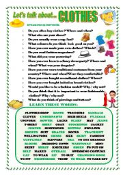 English Worksheet: LET�S TALK ABOUT CLOTHES (SPEAKING SERIES 31)