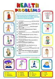 English teaching worksheets: Health problems
