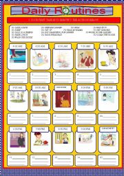 English Worksheets: DAILY ROUTINES (2 PAGES) + KEY INCLUDED