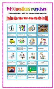English Worksheets: WH Questions Exercises